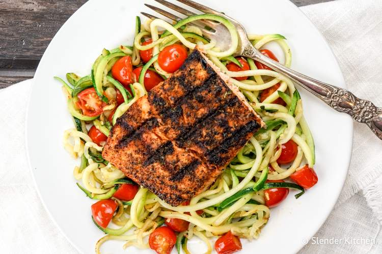 Blackened Salmon with Garlic Zoodles