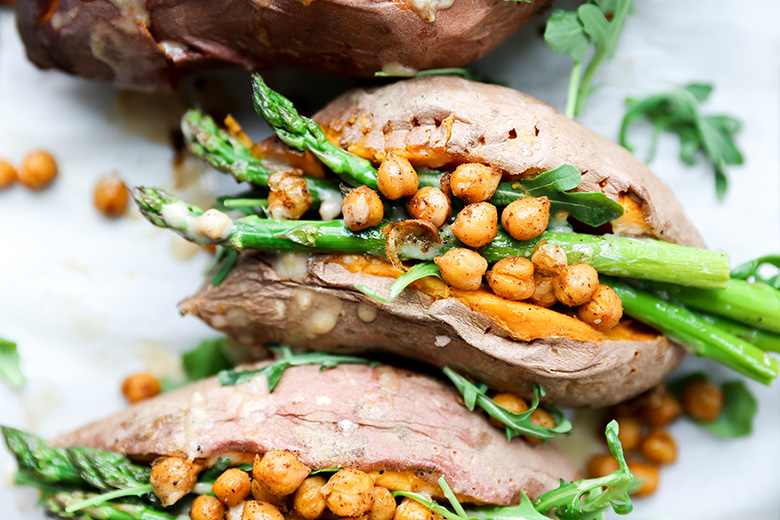 Stuffed Sweet Potatoes with Chickpeas, Asparagus, and Arugula